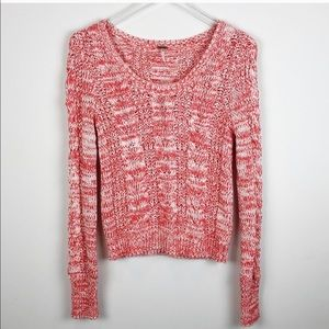 Free People Marled Cable Knit Pull Over Sweater